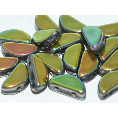 Semi Circle Beads  5x10 mm  Crystal Full Capri Rose - 10 Pcs