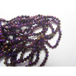 Glass Faceted Oval Beads 4x3 mm  Metallic Purple - 1 Strand of about 148 pcs
