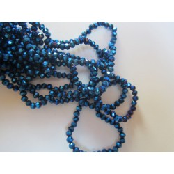 Glass Faceted Oval Beads 4x3 mm  Metallic Blue - 1 Strand of about 148 pcs