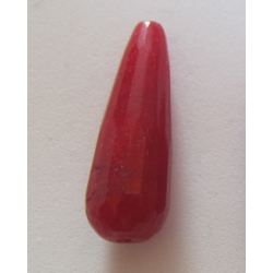 Jade Faceted Drop  Dyed Dark Red  30x10 mm   -  1 pc