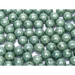 Perle Tonde in Vetro di Boemia  3 mm  Chalk White  Teal  Luster - 50  Pz
