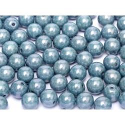 Perle Tonde in Vetro di Boemia  3 mm  Chalk White  Baby Blue  Luster - 50  Pz