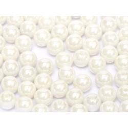 Perle Tonde in Vetro di Boemia  3 mm  Chalk  White Shimmer - 50  Pz