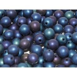Perle Tonde in Vetro di Boemia  6 mm Matte Iris Blue  - 25  Pz