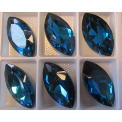 Horse Eye Faceted  Glass Cabochon 17x32  mm Dark Indicolite - 1 pc