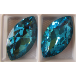 Horse Eye Faceted  Glass Cabochon 17x32  mm Aquamarine   - 1 pc