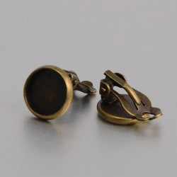 Brass Clip-on  Earring   17x12 mm, 10 mm Cabochon Setting, Antique Bronze Color  - 2 pcs