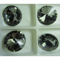 Glass  Pointed Back Rhinestone  Rivoli 18 mm Silver Night    - 1 pc