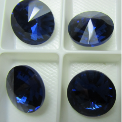 Glass  Pointed Back Rhinestone  Rivoli 18 mm Dark Sapphire    - 1 pc