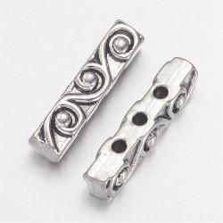 Metal  Bar Bead Spacer 18x4  mm,   Antique Silver  Color  - 2 pcs