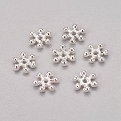 Metal  Snowflake  Bead Spacer 8,5x2,5 mm,   Silver Color  - 10 pcs