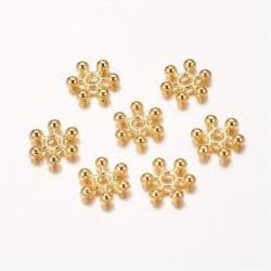 Metal  Snowflake  Bead Spacer 8,5x2,5 mm,   Golden  Color  - 10 pcs