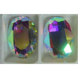Oval Faceted Glass Cabochon 13 x 18 mm  Crystal AB  - 1 pc