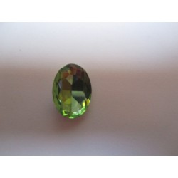Oval Faceted Glass Cabochon 13 x 18 mm  Peridot- 1 pc