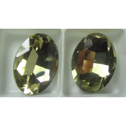 Oval Faceted Glass Cabochon 13 x 18 mm   Dark Champagne  - 1 pc