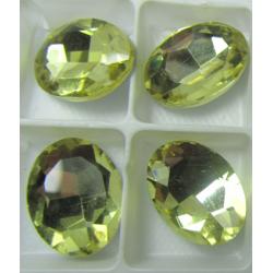 Oval Faceted Glass Cabochon 13 x 18 mm  Light  Lemon  - 1 pc
