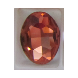 Oval Faceted Glass Cabochon 13 x 18 mm  Peach- 1 pc