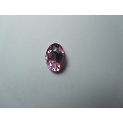 Oval Faceted Glass Cabochon 13 x 18 mm  Light Rose- 1 pc