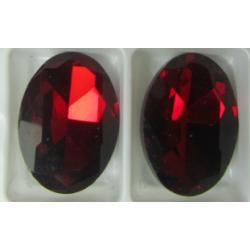 Cabochon Ovale Sfaccettato  in Vetro  13 x 18  mm  Ruby  - 1 pz