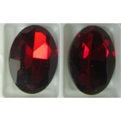 Oval Faceted Glass Cabochon 13 x 18 mm   Ruby  - 1 pc