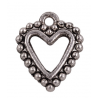 Heart Pendant 17x14 mm, Antique  Silver Color Plated - 2 pcs