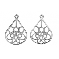 Stainless Steel Round Hollow Charm  19  mm  - 2  pcs