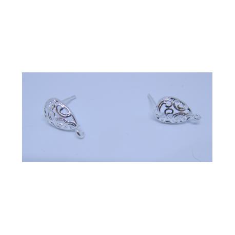 Perno Goccia Traforata  15x13  mm  Color Argento  -   2 pz