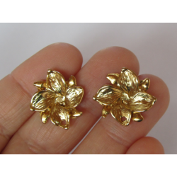Zamak   Flower/Windmill Ear Stud  20x18  mm  Gold/Bronze  Color - 2  pcs