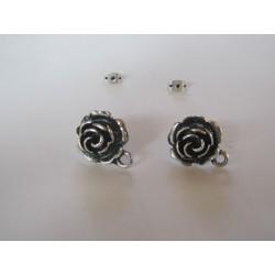 Zamak   Rose Ear Stud  16 mm  Nickel/Black   Color - 2  pcs
