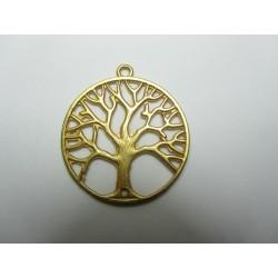 Zamak  Tree Pendant  33  mm  Gold Mat  Color - 1  pc