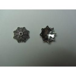 Thick Flower Bead Cap  16 mm, Antique Silver Color  - 10 pcs