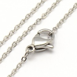 Stainless Steel Chainlet  44,9  cm Long with Lobster Clasp, size  1,5x0,2 mm - 1 pc