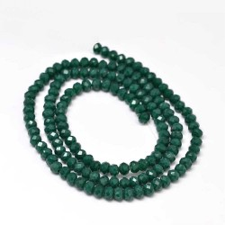 Glass Faceted Oval Beads 4x3 mm  Dark Teal   - 1 Strand of about 148 pcs