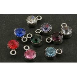 Round Rhinestone and Brass Pendant/Charm  4  mm  Mixed Colours  - 5  pcs