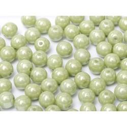 Perle Tonde in Vetro di Boemia  6 mm Chalk White Mint Luster - 25  Pz