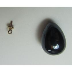 Resin Drop  Half-Drilled 18x13 mm Hematite  Luster  -  1 pc