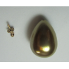 Resin Drop  Half-Drilled 18x13 mm Brass Pearl  -  1 pc