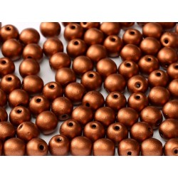 Round Beads  6 mm  Metallic  Copper - 25 pcs