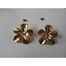 Perno in Zama Fiore  Pieno  Grande  27  mm  Color Oro/Bronzo Lucido  -   2 pz