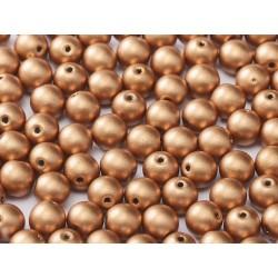 Round Beads  6 mm  Metallic  Vintage Copper - 25 pcs
