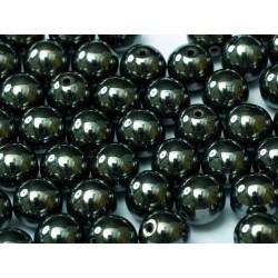 Round Beads  6 mm Jet  Hematite - 25 pcs