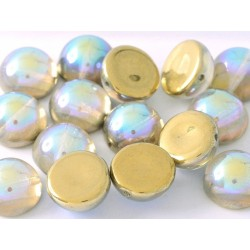 Dome Beads 12x7 mm  Crystal Golden Rainbow  - 5 pcs