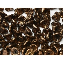 Flower Cup Beads  7x5 mm  Jet Bronze  - 25 pcs
