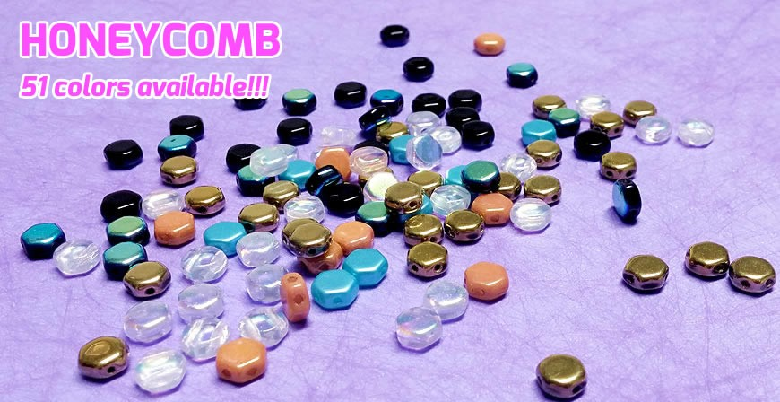 New and exclusive 2-hole Czech glass beads with hexagonal shape.