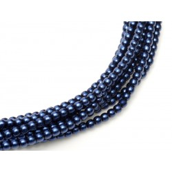 Glass Pearls  4 mm Midnight   Blue  - 50 pcs