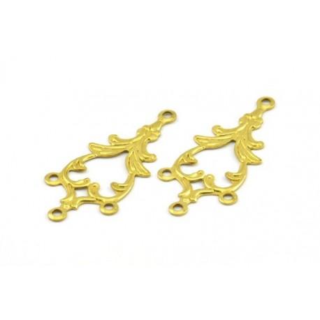 Brass  Textured  Fantasy Link  1-3 strand, 34x15 mm   - 2  pcs