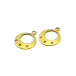 Brass  Circle Earring Finding/ Link/Charm  with 3 Holes  16 x 13  mm   - 2 pcs