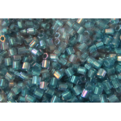 Toho Hexagon 8/0 Inside Color Rainbow Crystal Teal/Green Lined - 10 g
