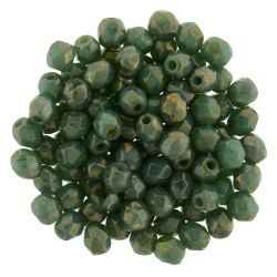 Fire Polished Faceted Round Beads  3 mm Opaque Turquoise Bronze Picasso  - 50 pcs