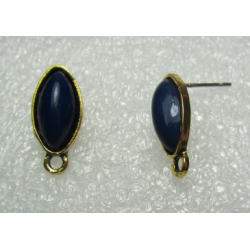 Horse Eye Ear Stud 19x9 mm Dark Blue Resin Stone, Gold Bae Colour - 2 pcs